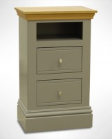 New England Small 2 Drawer Open Shelf Bedside